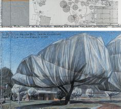 Wrapped Trees, 1998, by by Christo and Jeanne-Claude.    Drawing in two parts: pencil, charcoal, pastel, wax crayon, piece of woven fabric, photographic paper, paper sticky tape and agraffe on cardboard.