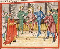 Bibel AT, dt.: Könige, Paralipomenon I und II, Esra, Tobias, Judith, Esther, Hiob — Stuttgart (?) -  Werkstatt Ludwig Henfflin, 1477 Cod. Pal. germ. 17 Folio 14r