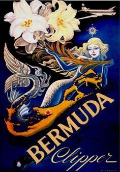 Bermuda Mermaid ~ The Caribbean ~ Vintage Travel Poster