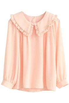 Sweet Solid Sheer Long-Sleeve Chiffon Blouse