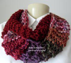 Gola transpassada de tricô - knitting- knit  by www.rosaacessorios.blogspot.com