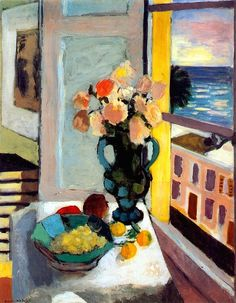 Henri Matisse - Saffron Roses in Front of the Window, c. 1925