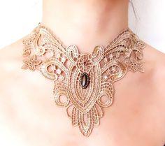 SALE beige lace bib choker  steampunk necklace earthy  fall