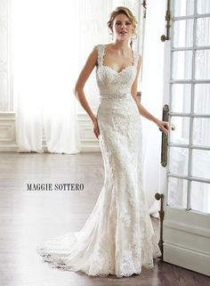 Discover the Maggie Sottero Pia Bridal Gown. Find exceptional Maggie Sottero Bridal Gowns at The Wedding Shoppe Lace Wedding Dress, Maggie Sottero Wedding Dresses, Wedding Dresses With Straps, Dream Wedding Dresses, Wedding Dress Styles, Designer Wedding Dresses, Bridal Dresses, Wedding Gowns, Prom Dresses