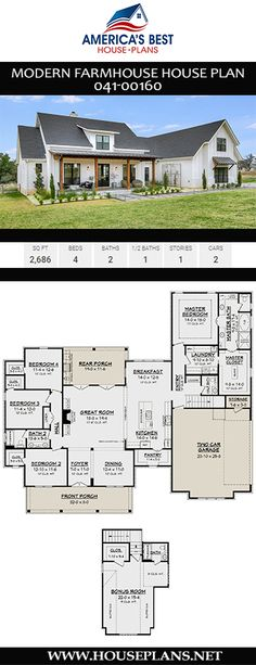 Modern Farmhouse House Plan This sq. Modern … Modern Farmhouse House Plan This sq. Modern Farmhouse house plan features 4 bedrooms, bathrooms, an open floor plan, a split bedroom layout, and a 2 car garage. 4 Bedroom House Plans, Ranch House Plans, Best House Plans, Dream House Plans, House Design Plans, Garage Bedroom, Dream Houses, One Floor House Plans, Open House Plans