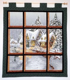Fabric Wall Hanging  Attic Window of a Snowy by jamiespatchwork