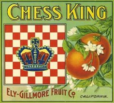 Los Angeles Chess King Orange Crate Label
