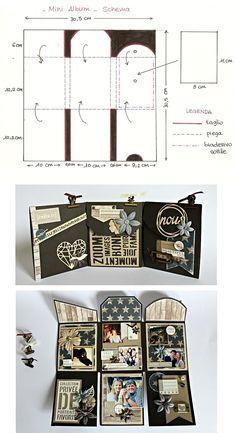 Mini album ?? d??ployer d??coup?? dans une feuille 30 x 30 cm - tutoriel