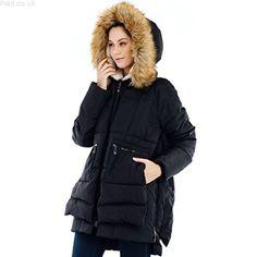 Fensajomon Mens Fleece Fall Winter Faux Fur Hood Contrast Warm Quilted Jacket Coat Outerwear
