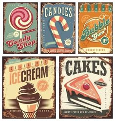 Download royalty-free Vintage candy shop collection of tin signs. Retro posters layouts set with sweets, cakes, ice cream and bubble gum. Creative old fashioned rusty ads and banners. stock vector 98994950 from Depositphotos collection of millions of premium high-resolution stock photos, vector images and illustrations.