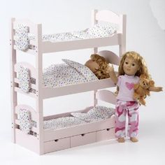 Doll Triple Bunk Bed - Furniture Made to Fit American Girl or Other for sale online Bunk Bed Wall, Bunk Bed Sets, Bunk Beds With Storage, Doll Bunk Beds, Kids Bunk Beds, Doll Furniture, Furniture Making, Girls Furniture, Dollhouse Furniture