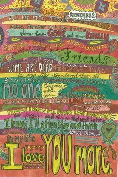 12x18 Print of In My Life lyrics art by TheAmblingArmadillo, $25.00