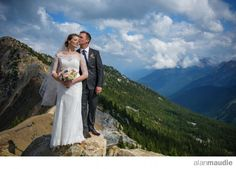 Bride and Groom on mountaintop, mountain ridge, Kicking Horse Mountain Resort Wedding Photographer, Golden. B.C., BC