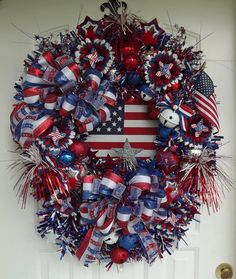 4th of July wreath Patriotic wreath  Labor by WreathsbyKimberly