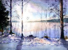 Озеро в Соткамо (Финляндия) зимой — Акварели, рисунки, наброски — Владимир Тупоршин