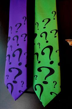 Green Riddler Question Mark Geeky Cosplay Mens Tie by mtcoffinz