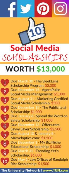 Hey social media gurus! You should apply to these scholarships ;-).