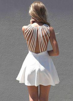 White Strapless Dress - White Sleeveless Dress with Lattice | UsTrendy