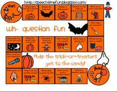 Free!!! WH Halloween question board game thanks to speechtimefun!!!