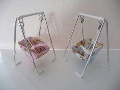 1/12th scale baby swing, blue, hand crafted miniature. £20.00, via Etsy.