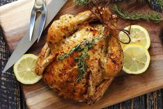 Lemon Herb Roasted Chicken Simple and delicious roasted whole chicken recipe with an either butter or ghee herb mix. Choose an organic, free-range chicken for the best nutrition, moistness and flavor. Easy paleo and gluten free recipe. Lemon Herb Roasted Chicken Recipe, Whole Roasted Chicken, Roast Chicken Recipes, Stuffed Whole Chicken, Butter Chicken, Keto Chicken, Paleo Recipes Easy, Lemon Recipes, Food Dinners