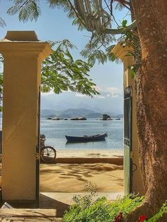 From your front yard to the beach now that is truly living in Paradise.  You can find this on Paqueta Island in Guanabara Bay, Rio de Janeiro.  The island is an auto-free zone, so travel is limited to bicycles and horse drawn carriages.