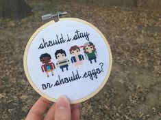 """""""Should I Stay or Should Eggo?"""" Stranger Things Minis Cross Stitch Pattern   from Yellow Brick Stitchery on Etsy"""