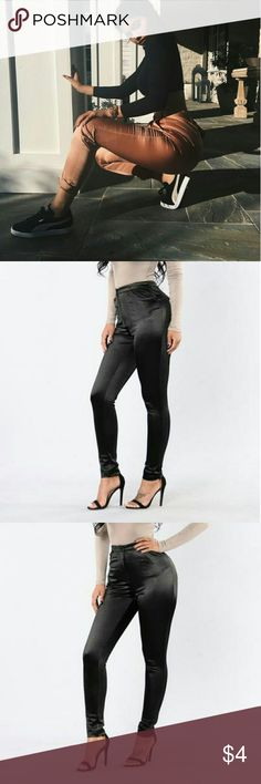 Glossy Pants. STUNNING glossy pants! 100% strechy and comfortable! Can fit sizes 9-13 :)   Details: Mid rise, straight leg, 4 pocket design.   90% Polyester, 10% Spandex  Refer to pics 2, 3, 4 & 5 for the pants! Pants
