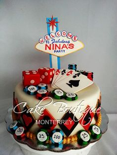 Las Vegas Cake - Cake by Cake Boutique Monterrey Fondant Cakes, Cupcake Cakes, Las Vegas Cake, Poker Cake, Cakes Plus, Vegas Theme, Vegas Party, Casino Party, Casino Cakes