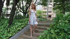 Look do dia: vestido listras + mule e red bag!   Blog da Ana