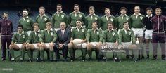 The Ireland Rugby Union team, captained by Donal Lenihan, prior to their match against Romania at Lansdowne Road in Dublin on 1st November 1986.  Ireland beat Romania 60-0.  (Photo by Mike Brett/Popperfoto/Getty Images)