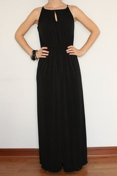 Wide Leg Jumpsuit Palazzo Pants in Black for Women by KSclothing,