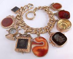 Antique Victorian Gold Filled Agate Intaglio Locket Compass Fob Charm Bracelet | eBay Sold $459.00