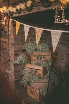 Country Rustic Yellow Barn Wedding Baby Breath Gypsophila Crates http://www.sophieduckworthphotography.com/