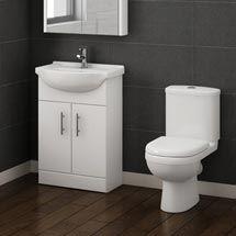 Alaska Vanity Unit with Modern Close Coupled Toilet