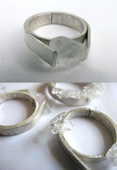 raw crystal rings by Malu Berbers, Reyes double wide band ring with rustic stone Stone Jewelry, Jewelry Art, Jewelry Rings, Silver Jewelry, Jewelry Accessories, Jewelry Design, Raw Crystal Jewelry, Crystal Ring, Silver Earrings
