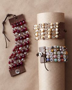 Cuff Bracelet: Burgundy (burgundy dyed quartz and clear Swarovski crystals), Multi Mix (random assortment of semiprecious stones and clear Swarovski crystals) or Natural (mother-of-pearl and tonal Swarovski crystals)