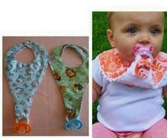 For grandma to make ~ holds pacifier AND catches drool!