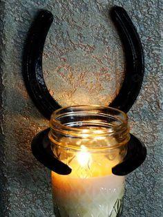 Horseshoe Candle Sconce with Frangenced by DesertKnightCreation