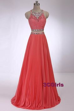 Beaded coral chiffon prom dress, formal dress, two piece dress for teens