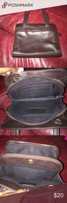 """Leather CO. by Liz Claiborne leather Handbag Chocolate Brown Genuine leather handbag In excellent condition! Multiple compartments as shown in photos. Measures 9""""X 7"""" X 4"""" Liz Claiborne Bags Travel Bags"""