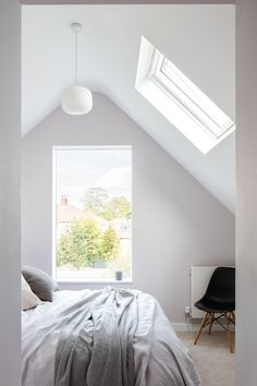 Bedroom with pitched roof, skylight and frameless glazing / Oliver Leech Architects / Reigate Road, Ewell Master Bedroom Addition, Modern Master Bedroom, Farmhouse Master Bedroom, Skylight Bedroom, Roof Skylight, Skylights, Attic Bedrooms, Upstairs Bedroom, Scandinavian Home Interiors