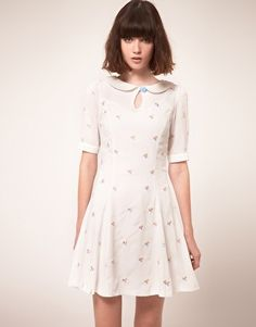 Enlarge Nishe Keyhole Dress with Clover Embroidery   asos