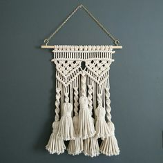 Tassel Macrame wall hanging small macramé bohemian weaving wall art fiber art shabby chic wall décor yarn wall decoration macrame wall by KnotSquared on Etsy https://www.etsy.com/listing/286698831/tassel-macrame-wall-hanging-small