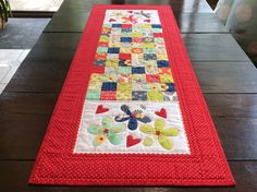 Red Patchwork Quilted Table Runner. Handmade.Applique Table