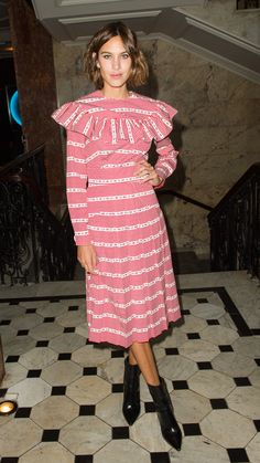 Queen of style, Alexa Chung owns the Little House On The Prairie look at the LOVE magazine party