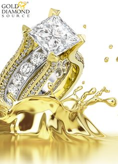 """A Breathtaking one of a kind Juleve Ring! This Ring features a 6.02 Carat Center Princess Cut Brilliant Diamond That Displays """"K"""" in color and """"SI2"""" In Clarity on The G.I.A. Diamond Grading scale. The Center Diamond is G.I.A. Certified & is accompanied by 3.81 Carats Total Weight of side Round Diamonds that are Channel & Pavé set in 18 Karat White & Yellow Gold. This One of a Kind Juleve Masterpiece was Proudly Designed & Manufactured in the U.S.A."""