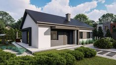 Flat Roof House, Facade House, House Construction Plan, Home Fashion, Cozy House, Art And Architecture, Planer, Bungalow, House Plans