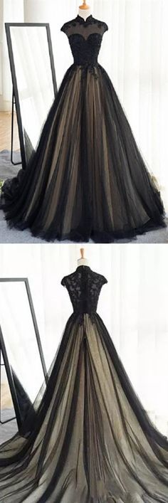 This dress could be custom made, there are no extra cost to do custom size and color, Black tulle cap sleeves floor-length long prom dresses luxury dresses Homecoming Dresses Long, Black Prom Dresses, Tulle Prom Dress, Cheap Prom Dresses, Dresses Uk, Trendy Dresses, Nice Dresses, Evening Dresses, Prom Long