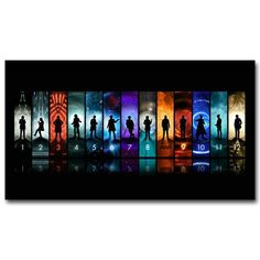 These stunning Doctor Who posters feature the 13 Doctors on a high-quality silk fabric poster to create a long lasting and unique art piece. Silk fabric posters have less glare than paper, which makes images and artwork on the poster easier to see and easier to hang lights nearby to prevent glare.
